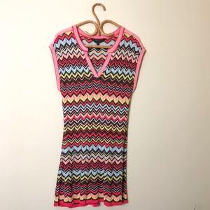 BCBG MaxAzria Chevron Stripe Silk Blend Knit Dress